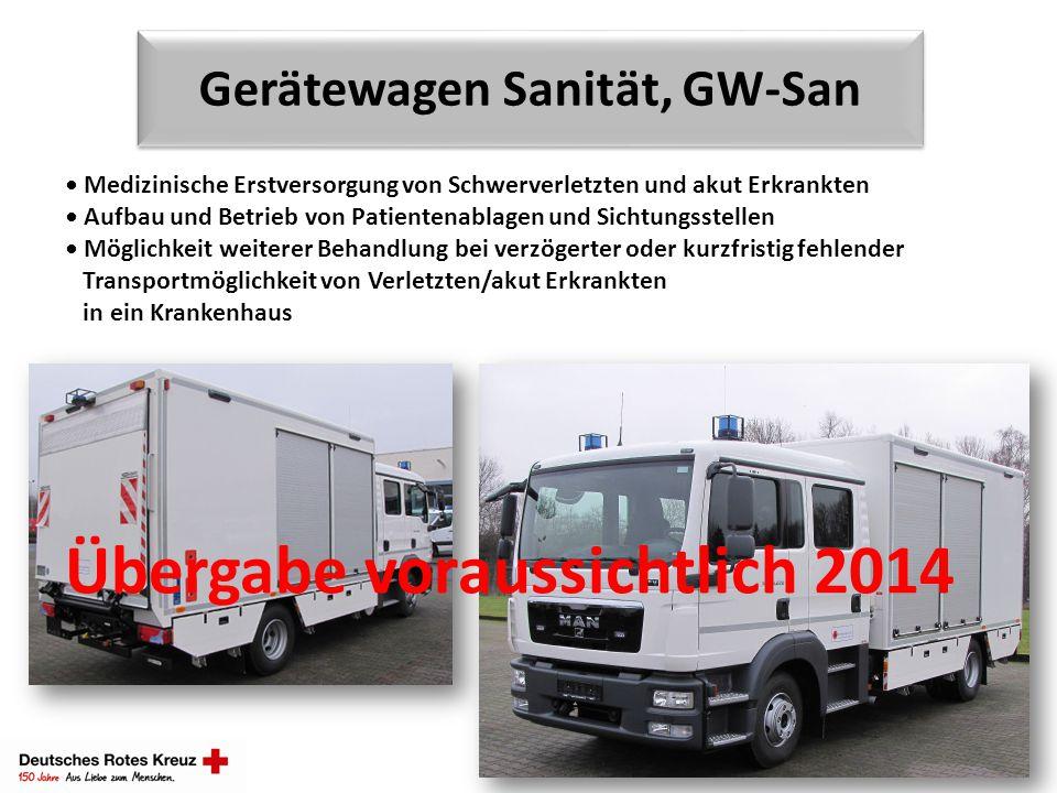 Gerätewagen Sanität, GW-San Medizinische Erstversorgung von Schwerverletzten und akut Erkrankten Aufbau und Betrieb von Patientenablagen und Sichtungs