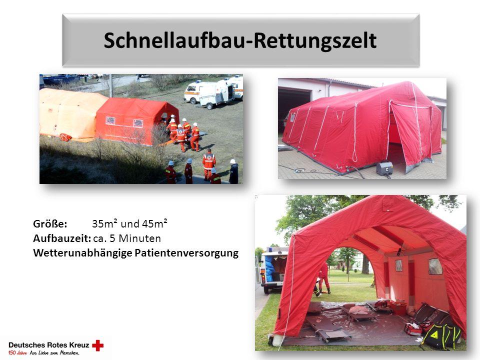 Schnellaufbau-Rettungszelt Größe: 35m² und 45m² Aufbauzeit: ca. 5 Minuten Wetterunabhängige Patientenversorgung