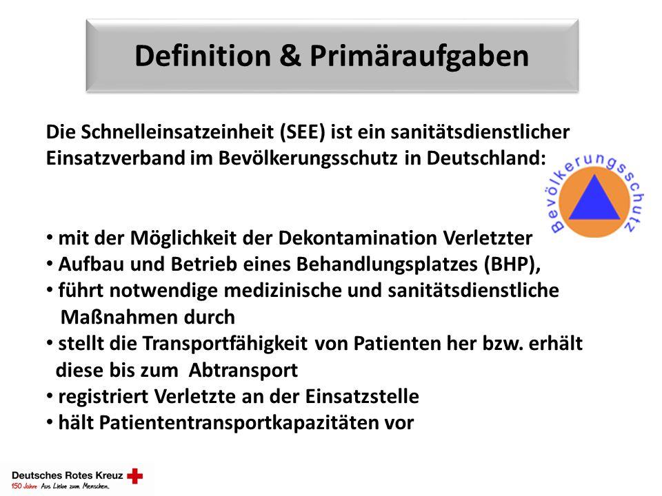 Definition & Primäraufgaben Die Schnelleinsatzeinheit (SEE) ist ein sanitätsdienstlicher Einsatzverband im Bevölkerungsschutz in Deutschland: mit der
