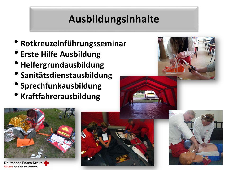 Ausbildungsinhalte Rotkreuzeinführungsseminar Erste Hilfe Ausbildung Helfergrundausbildung Sanitätsdienstausbildung Sprechfunkausbildung Kraftfahrerau