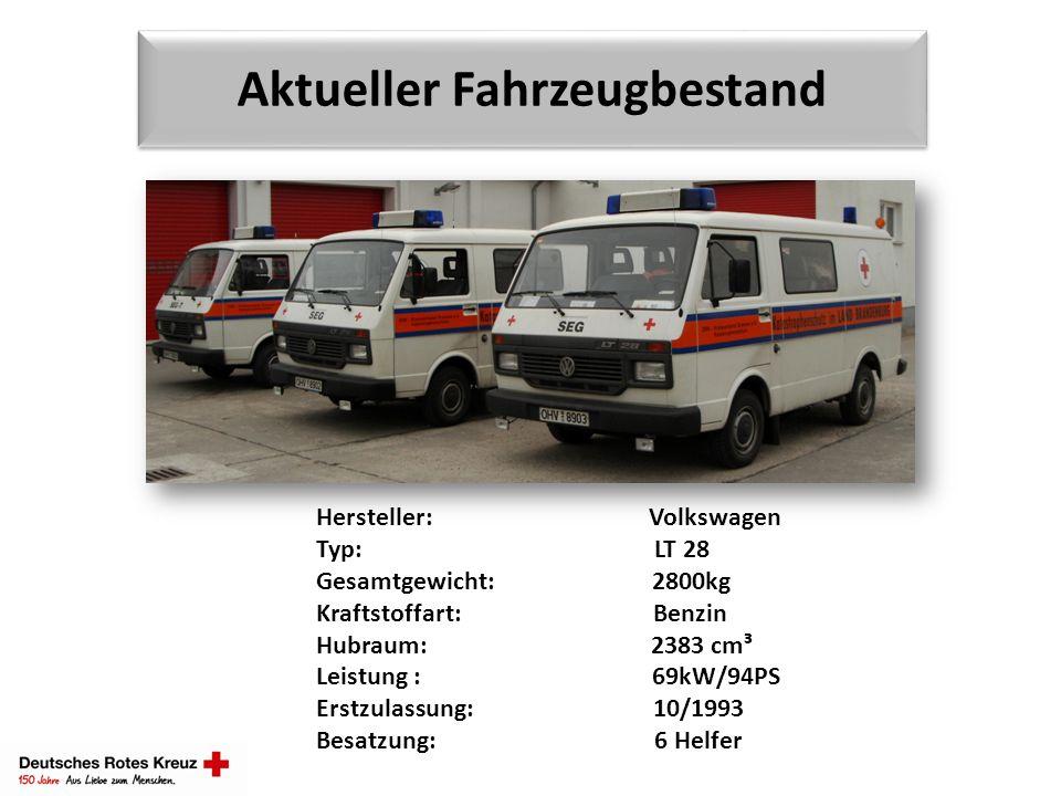 Aktueller Fahrzeugbestand Hersteller: Volkswagen Typ: LT 28 Gesamtgewicht: 2800kg Kraftstoffart: Benzin Hubraum: 2383 cm³ Leistung : 69kW/94PS Erstzul