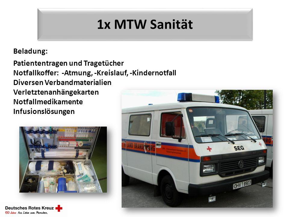 1x MTW Sanität Beladung: Patiententragen und Tragetücher Notfallkoffer: -Atmung, -Kreislauf, -Kindernotfall Diversen Verbandmaterialien Verletztenanhä