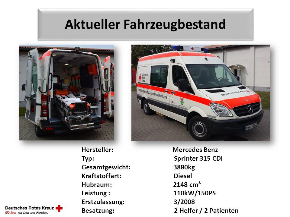 Aktueller Fahrzeugbestand Hersteller: Mercedes Benz Typ: Sprinter 315 CDI Gesamtgewicht: 3880kg Kraftstoffart: Diesel Hubraum: 2148 cm³ Leistung : 110