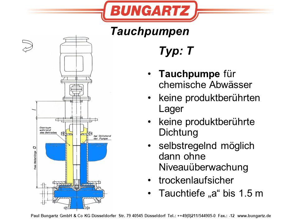 Paul Bungartz GmbH & Co KG Düsseldorfer Str. 79 40545 Düsseldorf Tel.: ++49(0)211/544905-0 Fax.: -12 www.bungartz.de Tauchpumpen Typ: T Tauchpumpe für