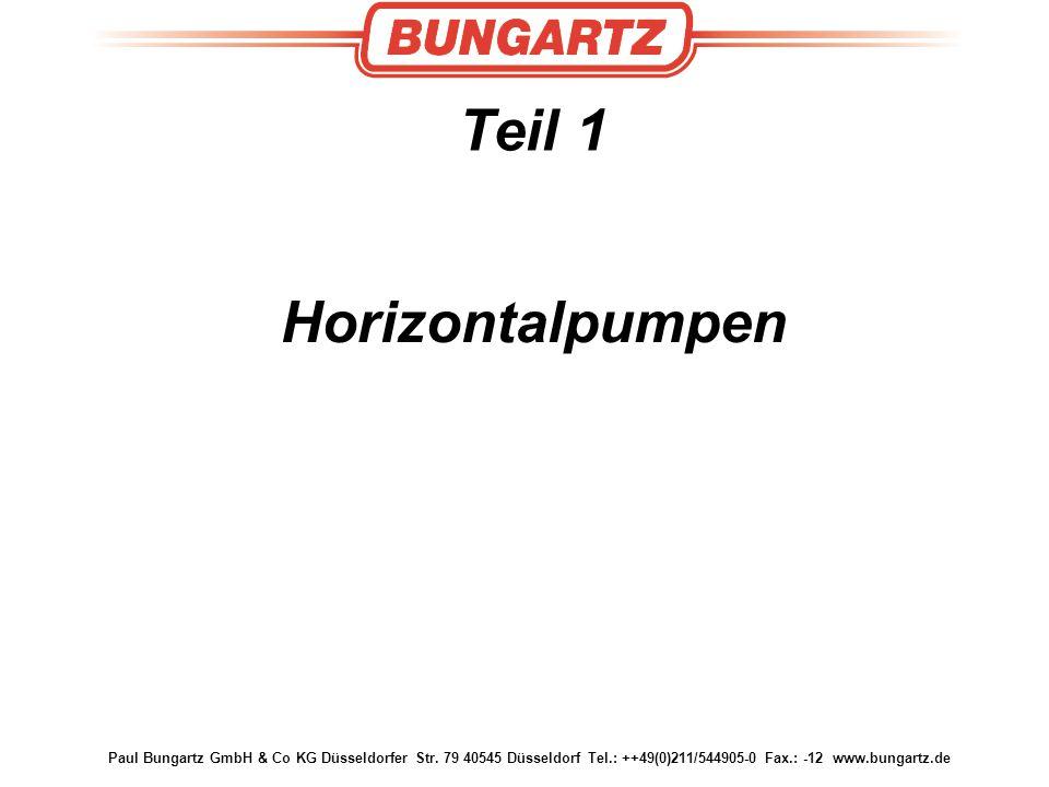 Paul Bungartz GmbH & Co KG Düsseldorfer Str. 79 40545 Düsseldorf Tel.: ++49(0)211/544905-0 Fax.: -12 www.bungartz.de Teil 1 Horizontalpumpen