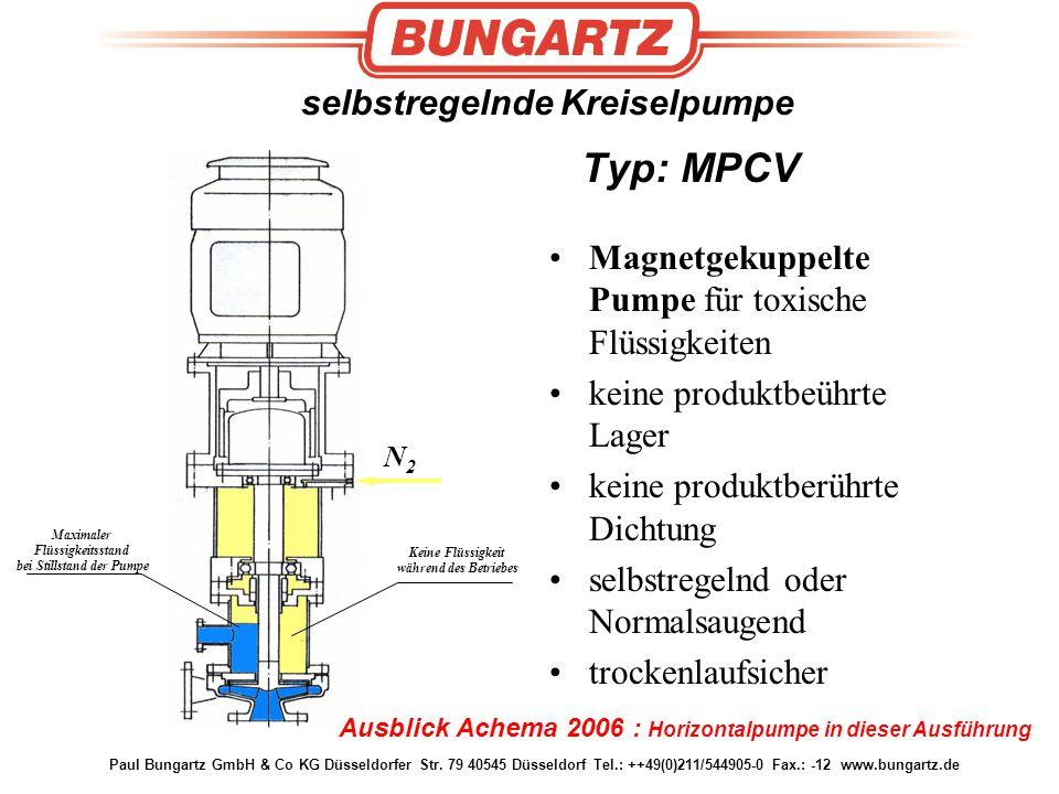 Paul Bungartz GmbH & Co KG Düsseldorfer Str. 79 40545 Düsseldorf Tel.: ++49(0)211/544905-0 Fax.: -12 www.bungartz.de selbstregelnde Kreiselpumpe Typ:
