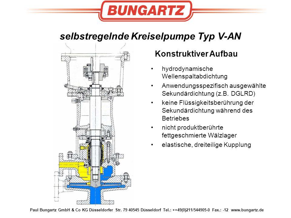 Paul Bungartz GmbH & Co KG Düsseldorfer Str. 79 40545 Düsseldorf Tel.: ++49(0)211/544905-0 Fax.: -12 www.bungartz.de selbstregelnde Kreiselpumpe Typ V