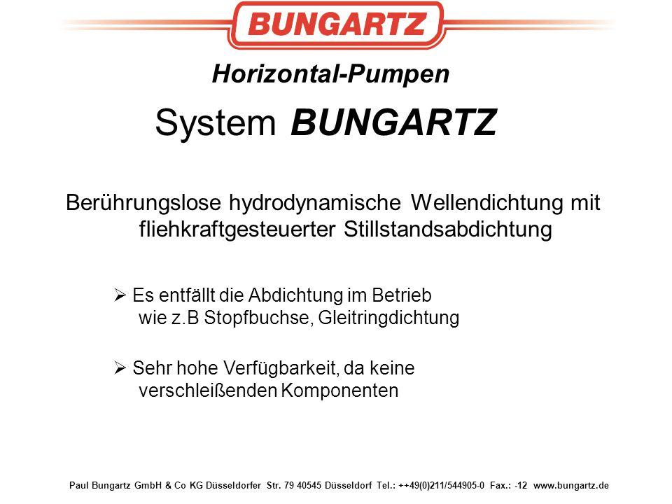 Paul Bungartz GmbH & Co KG Düsseldorfer Str. 79 40545 Düsseldorf Tel.: ++49(0)211/544905-0 Fax.: -12 www.bungartz.de Horizontal-Pumpen Berührungslose