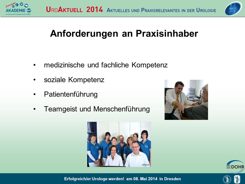 Erfolgreich/er Urologe werden! am 08. Mai 2014 in Dresden Anforderungen an Praxisinhaber medizinische und fachliche Kompetenz soziale Kompetenz Patien
