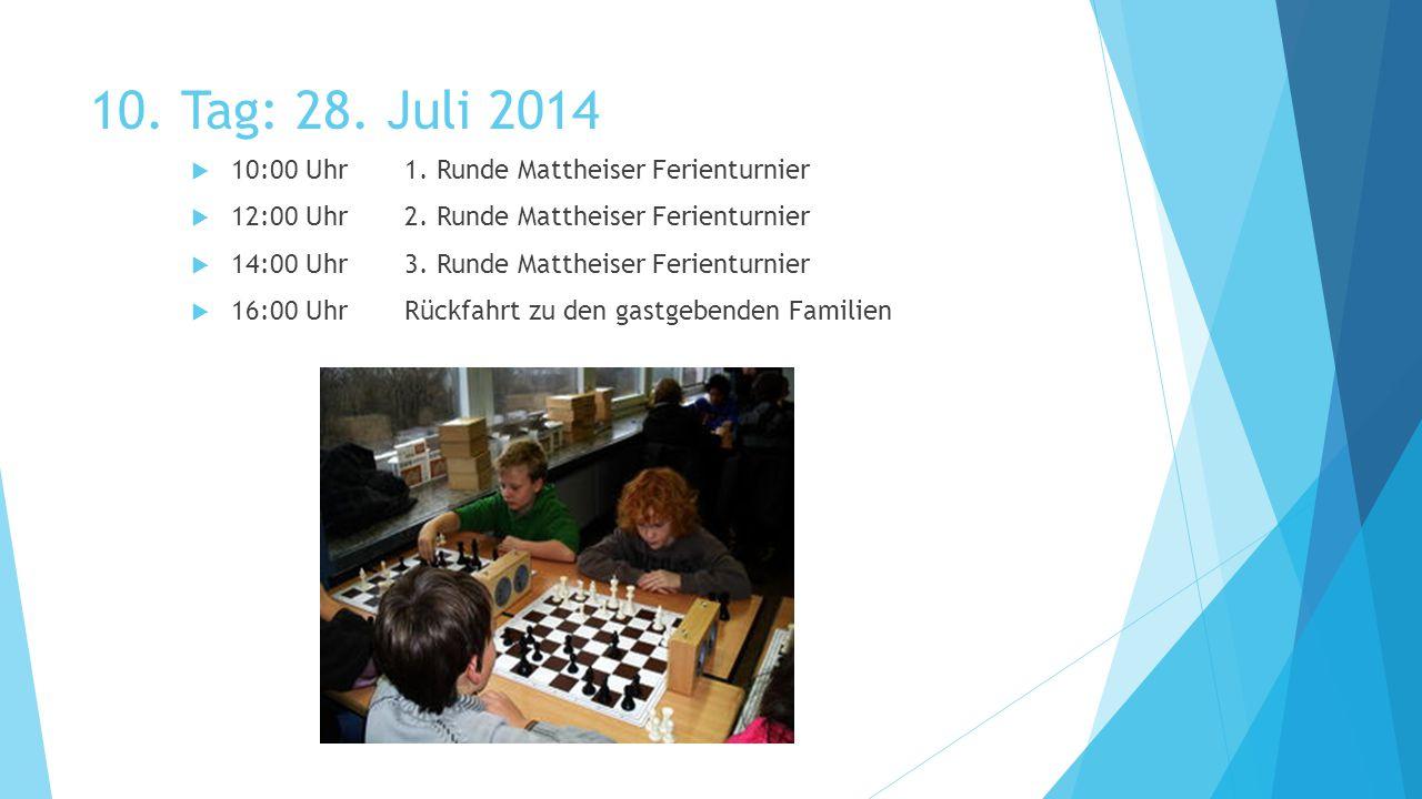 10. Tag: 28. Juli 2014  10:00 Uhr1. Runde Mattheiser Ferienturnier  12:00 Uhr2.