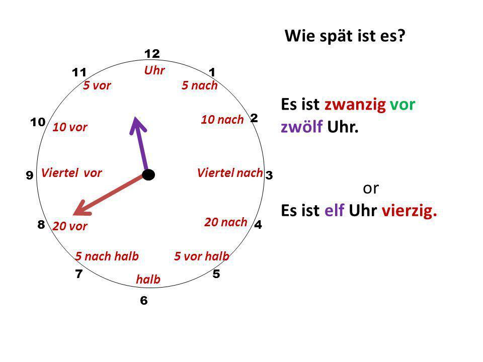 Wie spät ist es? 12 3 10 111 2 5 4 9 6 7 8 Es ist fünf vor halb elf Uhr. halb Uhr 5 nach 10 nach 20 nach 5 vor halb 5 vor 10 vor Viertel vor 20 vor 5