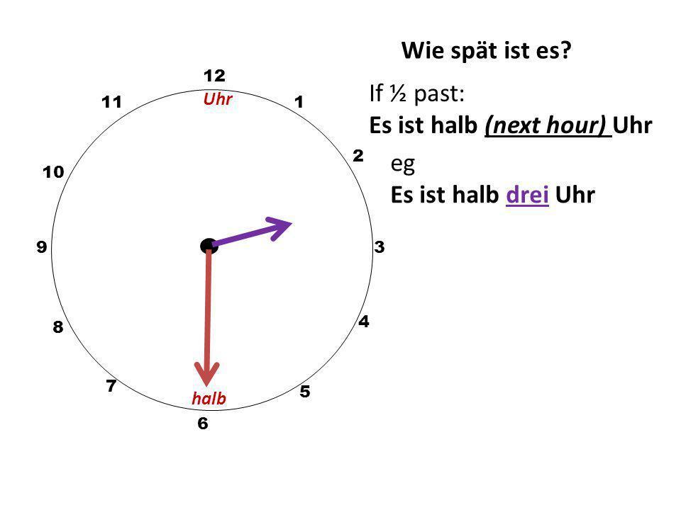 Wie spät ist es? 12 3 10 111 2 5 4 9 6 7 8 eg Es ist zehn Uhr Uhr