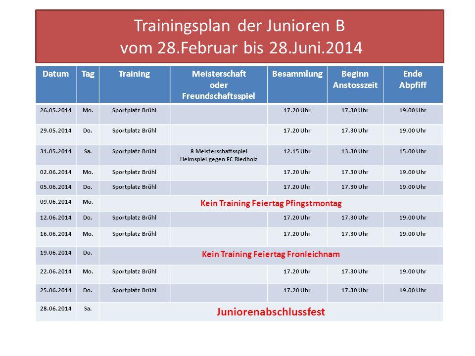 Trainingsplan der Junioren B vom 28.Februar bis 28.Juni.2014 DatumTagTrainingMeisterschaft oder Freundschaftsspiel BesammlungBeginn Anstosszeit Ende A