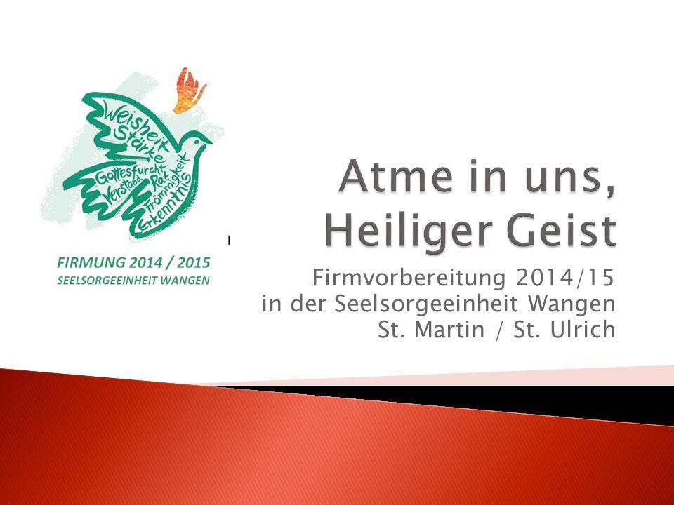 Firmvorbereitung 2014/15 in der Seelsorgeeinheit Wangen St. Martin / St. Ulrich