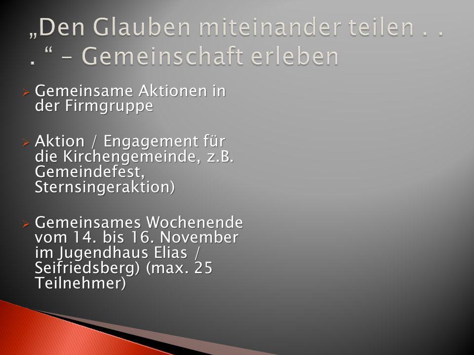  Gemeinsame Aktionen in der Firmgruppe  Aktion / Engagement für die Kirchengemeinde, z.B. Gemeindefest, Sternsingeraktion)  Gemeinsames Wochenende