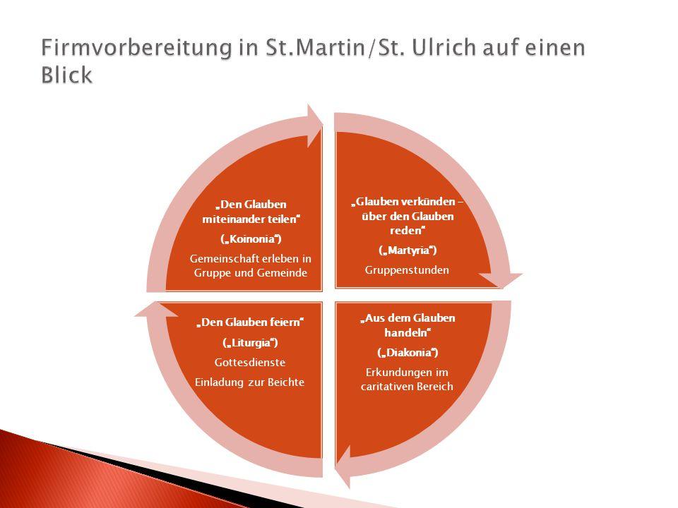 """""""Glauben verkünden – über den Glauben reden"""" (""""Martyria"""") Gruppenstunden """"Aus dem Glauben handeln"""" (""""Diakonia"""") Erkundungen im caritativen Bereich """"De"""