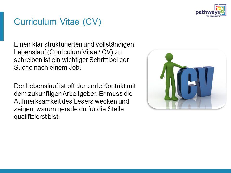 Curriculum Vitae (CV) Einen klar strukturierten und vollständigen Lebenslauf (Curriculum Vitae / CV) zu schreiben ist ein wichtiger Schritt bei der Su