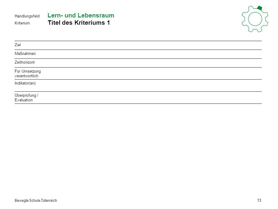 Kriterium Handlungsfeld Bewegte Schule Österreich Lern- und Lebensraum Titel des Kriteriums 1 13 Ziel Maßnahmen Zeithorizont Für Umsetzung verantwortlich Indikator(en) Überprüfung / Evaluation