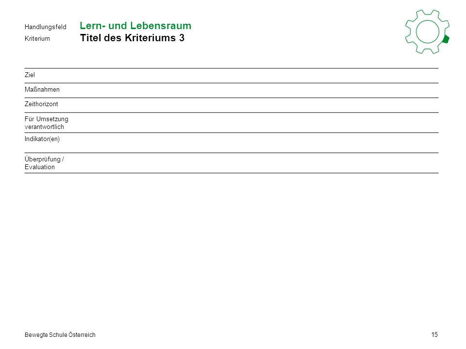 Kriterium Handlungsfeld Bewegte Schule Österreich Lern- und Lebensraum Titel des Kriteriums 3 15 Ziel Maßnahmen Zeithorizont Für Umsetzung verantwortlich Indikator(en) Überprüfung / Evaluation