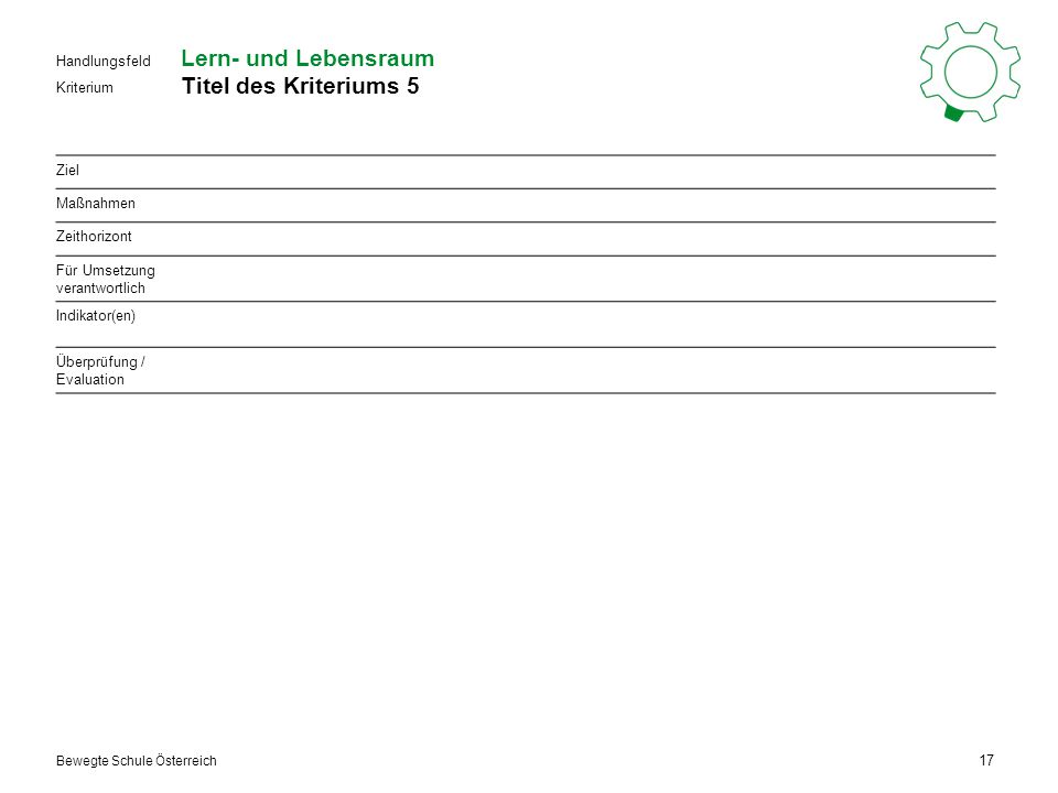 Kriterium Handlungsfeld Bewegte Schule Österreich Lern- und Lebensraum Titel des Kriteriums 5 17 Ziel Maßnahmen Zeithorizont Für Umsetzung verantwortlich Indikator(en) Überprüfung / Evaluation