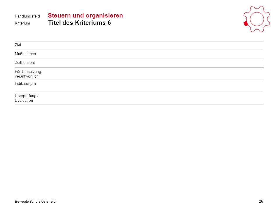 Kriterium Handlungsfeld Bewegte Schule Österreich Steuern und organisieren Titel des Kriteriums 6 26 Ziel Maßnahmen Zeithorizont Für Umsetzung verantwortlich Indikator(en) Überprüfung / Evaluation