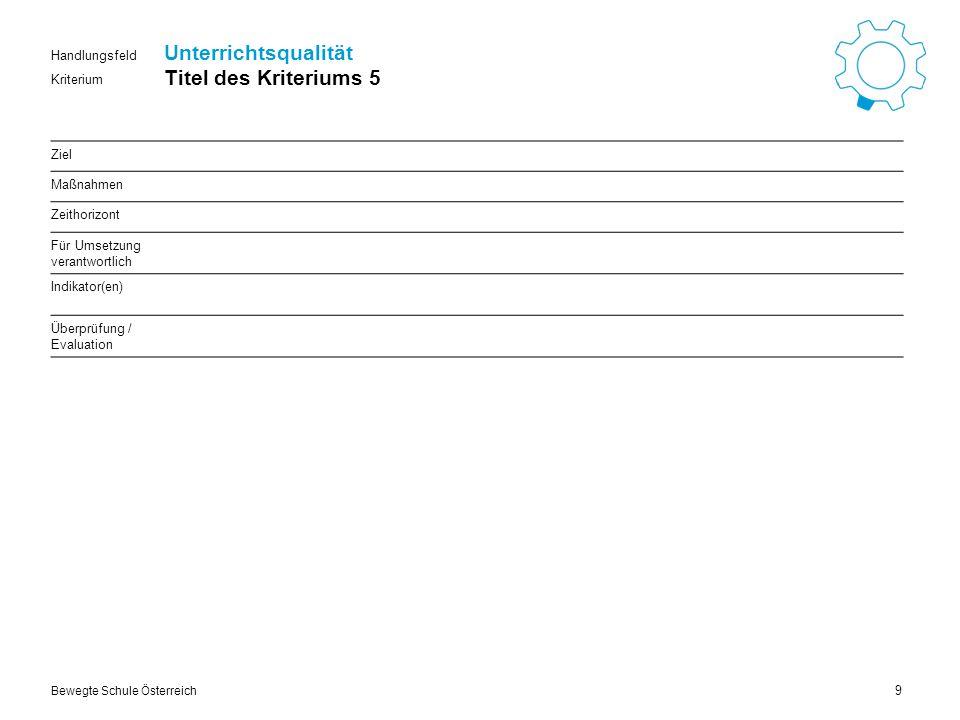Kriterium Handlungsfeld Bewegte Schule Österreich Unterrichtsqualität Titel des Kriteriums 6 10 Ziel Maßnahmen Zeithorizont Für Umsetzung verantwortlich Indikator(en) Überprüfung / Evaluation
