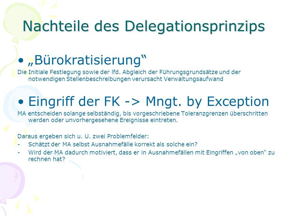 """Nachteile des Delegationsprinzips """"Bürokratisierung"""" Die Initiale Festlegung sowie der lfd. Abgleich der Führungsgrundsätze und der notwendigen Stelle"""