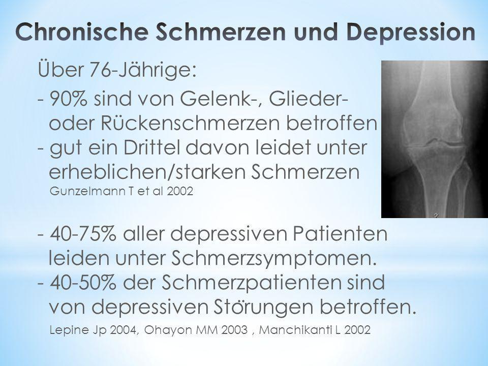 Über 76-Jährige: - 90% sind von Gelenk-, Glieder- oder Rückenschmerzen betroffen - gut ein Drittel davon leidet unter erheblichen/starken Schmerzen -