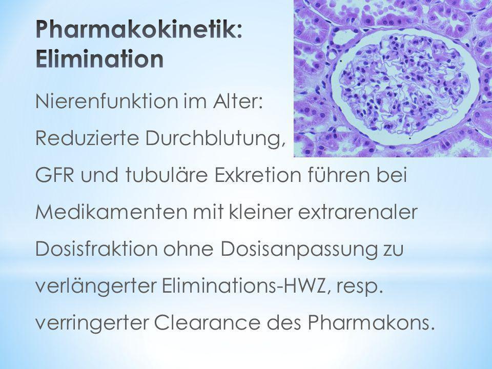 Nierenfunktion im Alter: Reduzierte Durchblutung, GFR und tubuläre Exkretion führen bei Medikamenten mit kleiner extrarenaler Dosisfraktion ohne Dosis