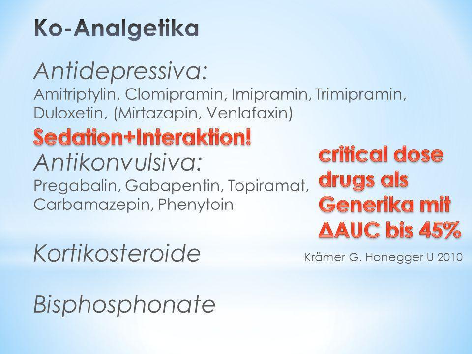 Antidepressiva: Amitriptylin, Clomipramin, Imipramin, Trimipramin, Duloxetin, (Mirtazapin, Venlafaxin) Antikonvulsiva: Pregabalin, Gabapentin, Topiram