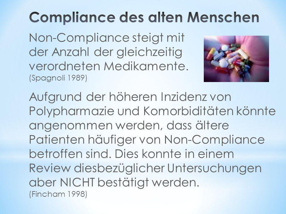 Non-Compliance steigt mit der Anzahl der gleichzeitig verordneten Medikamente. (Spagnoli 1989) Aufgrund der höheren Inzidenz von Polypharmazie und Kom