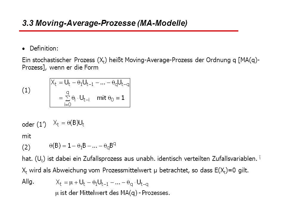 3.3 Moving-Average-Prozesse (MA-Modelle)  Definition: Ein stochastischer Prozess (X t ) heißt Moving-Average-Prozess der Ordnung q [MA(q)- Prozess],