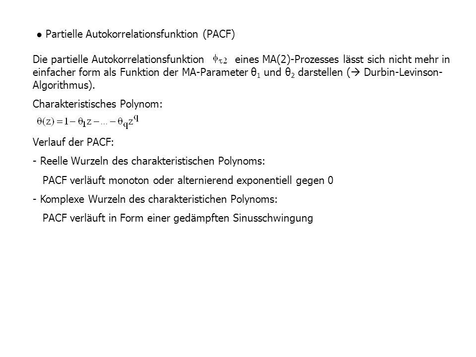 ● Partielle Autokorrelationsfunktion (PACF) Die partielle Autokorrelationsfunktion eines MA(2)-Prozesses lässt sich nicht mehr in einfacher form als F