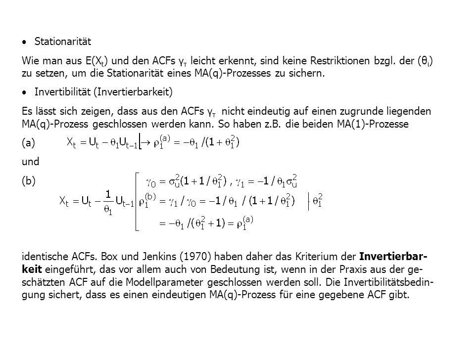  Stationarität Wie man aus E(X t ) und den ACFs γ τ leicht erkennt, sind keine Restriktionen bzgl. der (θ i ) zu setzen, um die Stationarität eines M