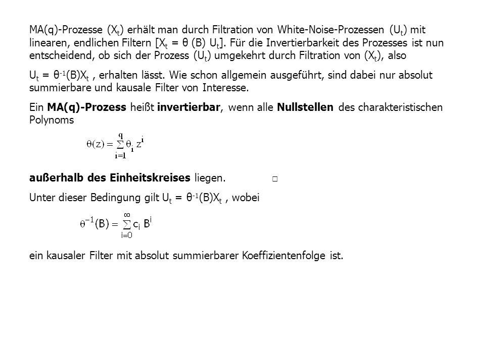 MA(q)-Prozesse (X t ) erhält man durch Filtration von White-Noise-Prozessen (U t ) mit linearen, endlichen Filtern [X t = θ (B) U t ]. Für die Inverti