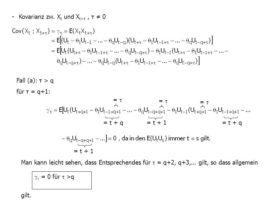 - Kovarianz zw. X t und X t+τ, τ ≠ 0 Fall (a): τ > q für τ = q+1: = t + 1 = t + q =  Man kann leicht sehen, dass Entsprechendes für  = q+2, q+3,...