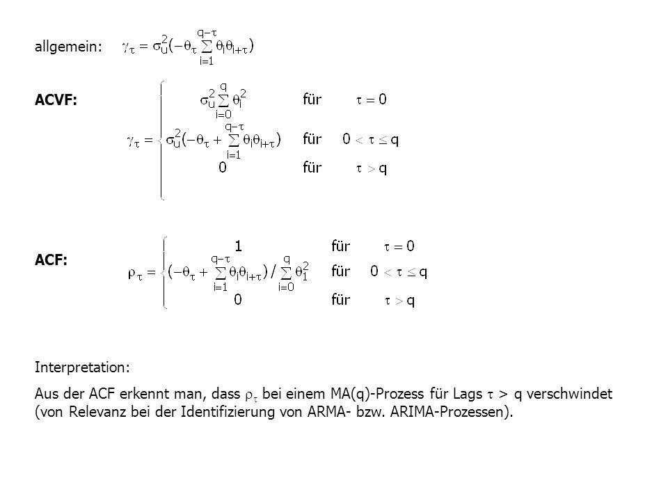 allgemein: ACVF: ACF: Interpretation: Aus der ACF erkennt man, dass   bei einem MA(q)-Prozess für Lags  > q verschwindet (von Relevanz bei der Iden