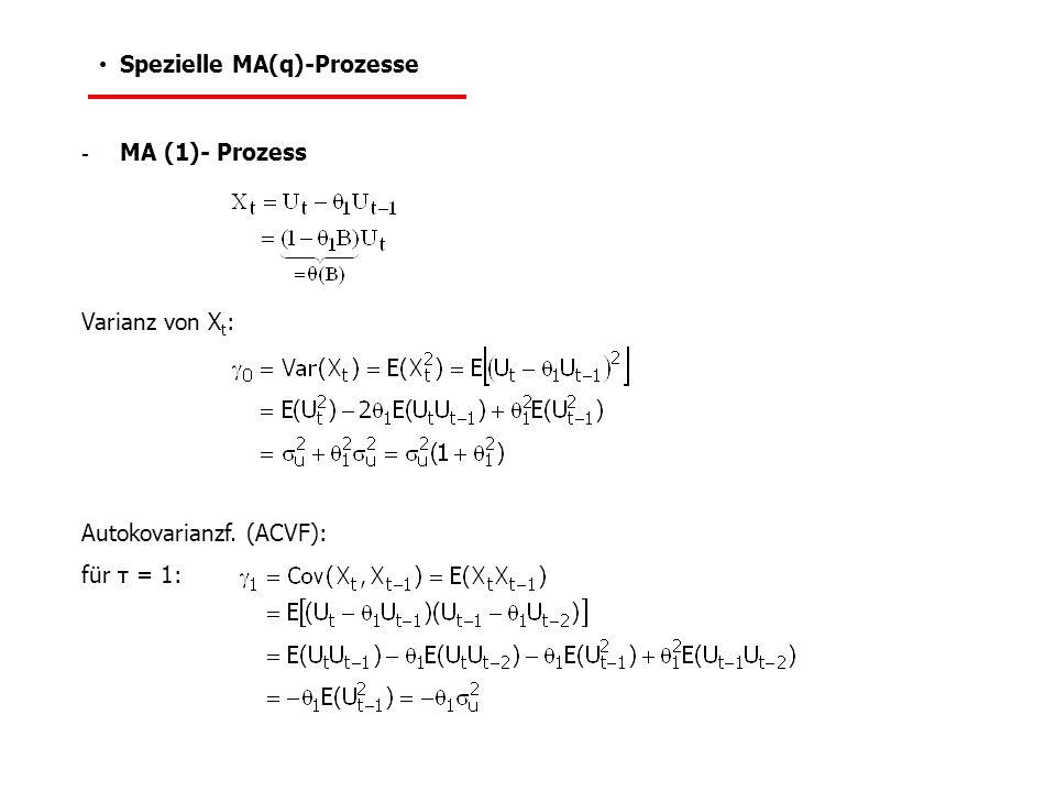  Momente für MA(q)-Prozess (allgemein): - Erwartungswert von X t - Varianz von X t