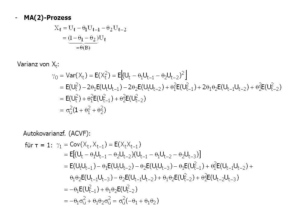 - MA(2)-Prozess Varianz von X t : Autokovarianzf. (ACVF): für τ = 1: