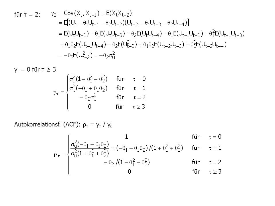 für τ = 2: γ τ = 0 für τ ≥ 3 Autokorrelationsf. (ACF): ρ τ = γ τ / γ 0
