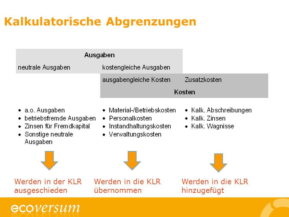 Kalkulatorische Abgrenzungen Werden in der KLR ausgeschieden Werden in die KLR übernommen Werden in die KLR hinzugefügt