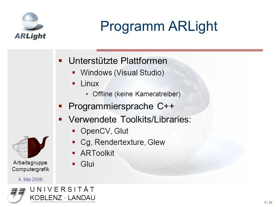 U N I V E R S I T Ä T KOBLENZ · LANDAU Arbeitsgruppe Computergrafik 4.