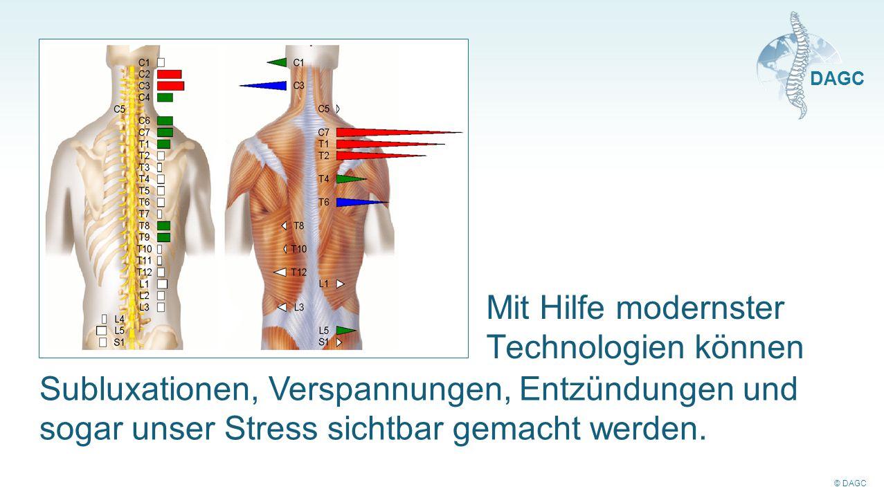 © DAGC DAGC Mit Hilfe modernster Technologien können Subluxationen, Verspannungen, Entzündungen und sogar unser Stress sichtbar gemacht werden.