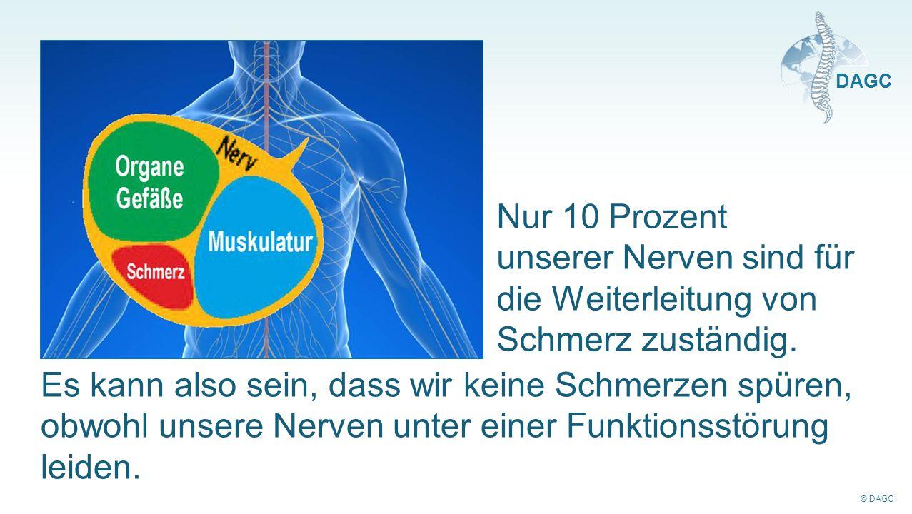 © DAGC DAGC Nur 10 Prozent unserer Nerven sind für die Weiterleitung von Schmerz zuständig. Es kann also sein, dass wir keine Schmerzen spüren, obwohl