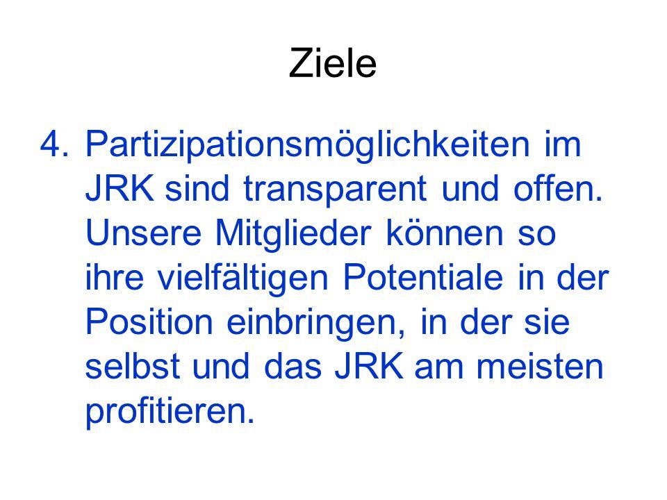 Ziele 4. Partizipationsmöglichkeiten im JRK sind transparent und offen. Unsere Mitglieder können so ihre vielfältigen Potentiale in der Position einbr