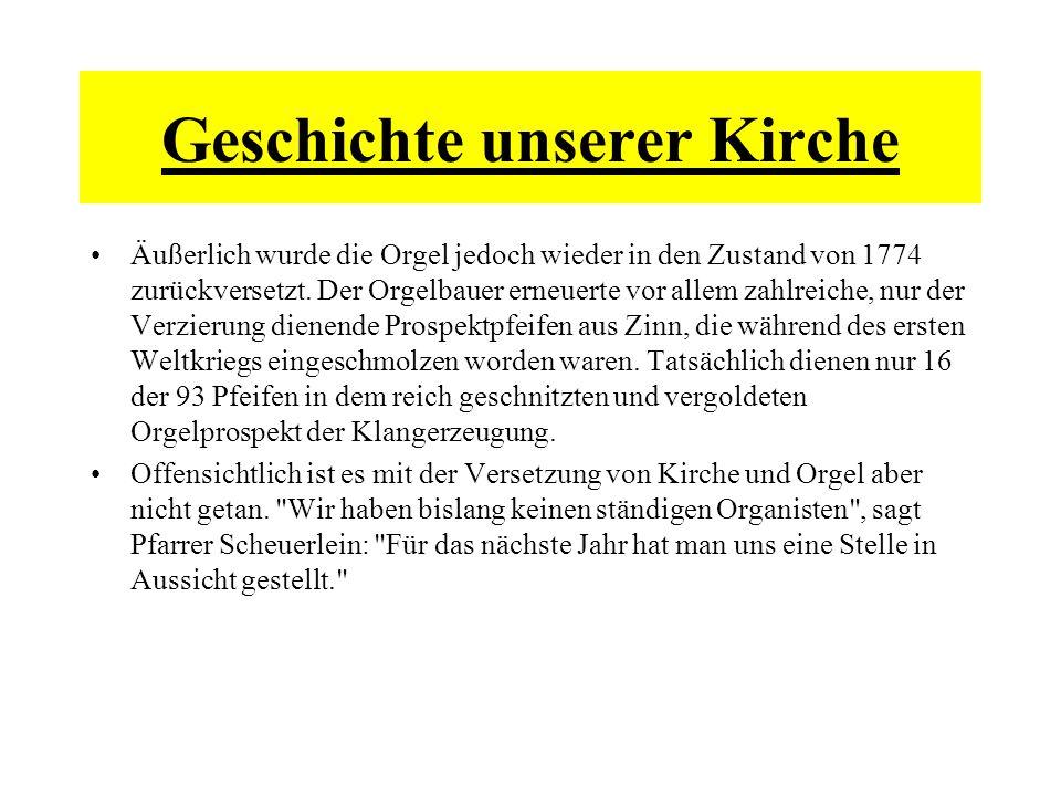 Äußerlich wurde die Orgel jedoch wieder in den Zustand von 1774 zurückversetzt. Der Orgelbauer erneuerte vor allem zahlreiche, nur der Verzierung dien