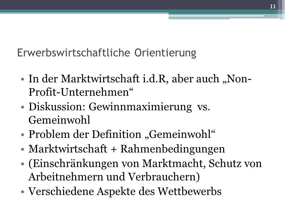 """Erwerbswirtschaftliche Orientierung In der Marktwirtschaft i.d.R, aber auch """"Non- Profit-Unternehmen"""" Diskussion: Gewinnmaximierung vs. Gemeinwohl Pro"""