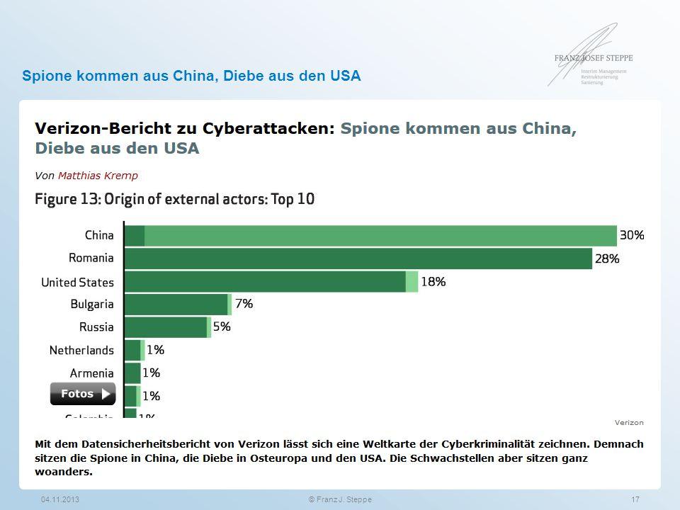 Spione kommen aus China, Diebe aus den USA 04.11.201317© Franz J. Steppe
