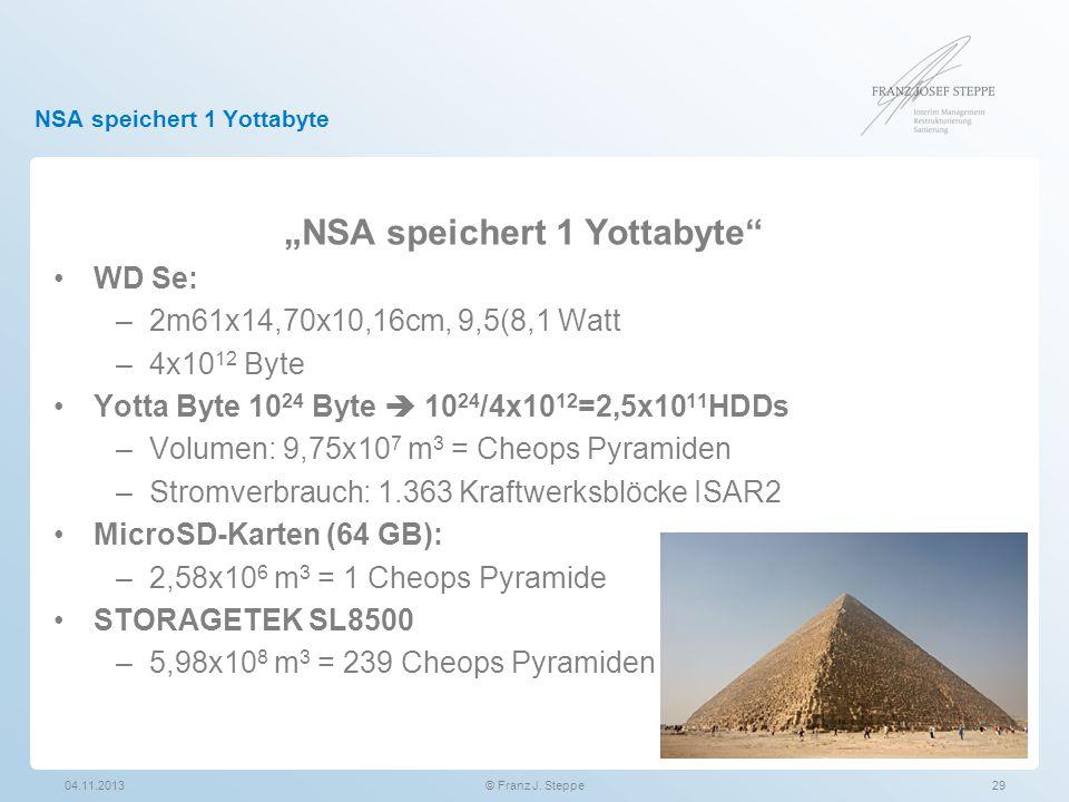 """NSA speichert 1 Yottabyte 04.11.201329© Franz J. Steppe """"NSA speichert 1 Yottabyte"""" WD Se: –2m61x14,70x10,16cm, 9,5(8,1 Watt –4x10 12 Byte Yotta Byte"""