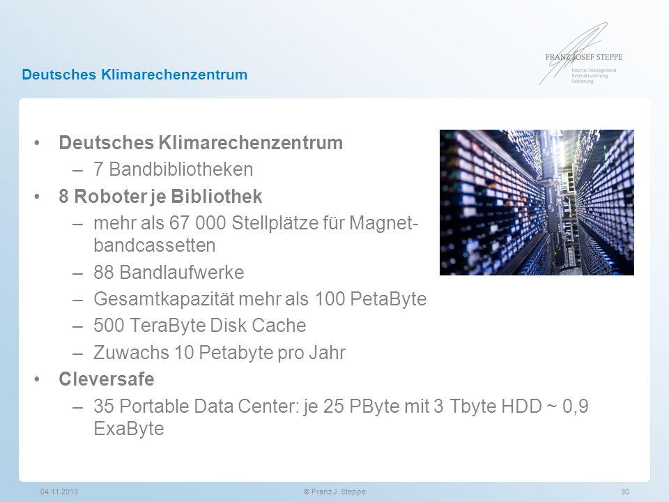 Deutsches Klimarechenzentrum 04.11.201330© Franz J. Steppe Deutsches Klimarechenzentrum –7 Bandbibliotheken 8 Roboter je Bibliothek –mehr als 67 000 S
